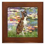 Lilies & Brindle Boxer Framed Tile