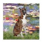 Lilies & Brindle Boxer Tile Coaster