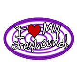 Hypno I Love My Greyhound Oval Sticker Purp