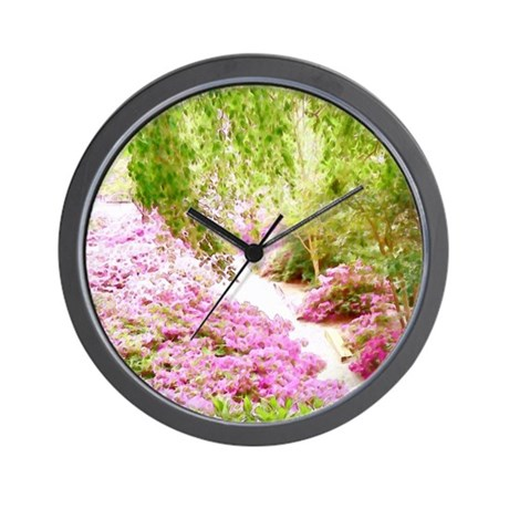 Pink Lined Walkway Wall Clock