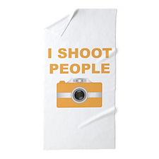 I Shoot People Orange Camera Beach Towel