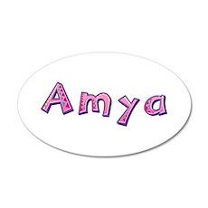 Amya Pink Giraffe 20x12 Oval Wall Decal