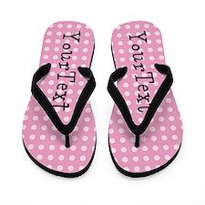 Customize Pink Polka Dot Personalized Flip Flops