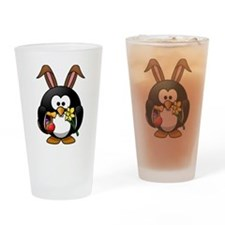 Easter Bunny Penguin with Eggs Drinking Glass