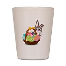 Easter Bunny with Egg Basket Shot Glass