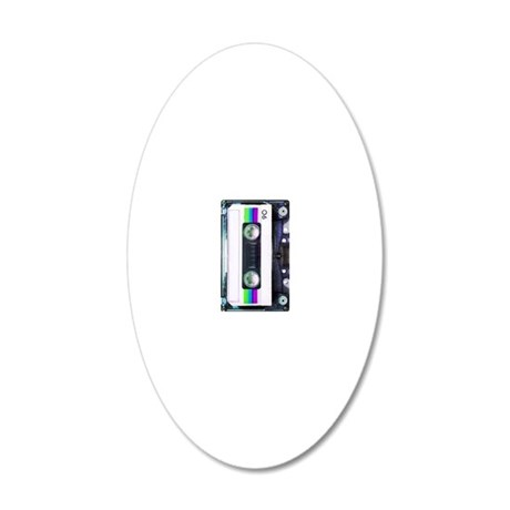 Metallic Mixed Tape - Blue 20x12 Oval Wall Decal