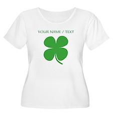 Custom Green Four Leaf Clover Plus Size T-Shirt