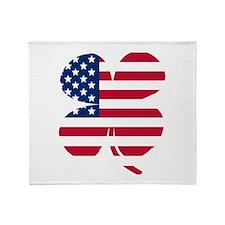 American Flag Shamrock Throw Blanket