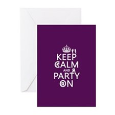 Keep Calm and Party On (4) Greeting Cards