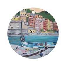 Vernazza Harbor, Italy Round Ornament