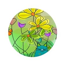 "Spring Flowers 112 3.5"" Button"