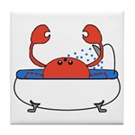 Crab in Bathtub Tile Coaster