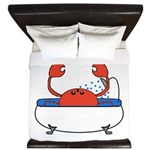 Crab in Bathtub King Duvet