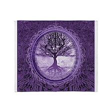 Tree of Life in Purple Throw Blanket