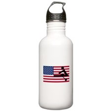 Rowing American Flag Sports Water Bottle