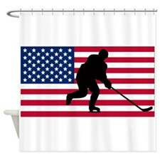 Hockey American Flag Shower Curtain