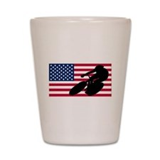 Cycling American Flag Shot Glass