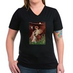 Seated Angel & Boxer Women's V-Neck Dark T-Shirt