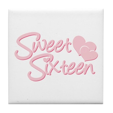 Sweet Sixteen Heart Tile Coaster