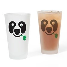 Green Irish St Patricks day Panda Drinking Glass
