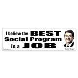Reagan Quote - Best Social Program Job Car Sticker