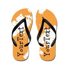 Orange White Personalized Flip Flops