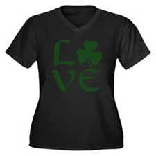 Green Shamro Women's Plus Size V-Neck Dark T-Shirt