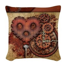 Key of Time and Love Woven Throw Pillow