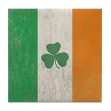Vintage Irish Shamrock Flag Tile Coaster