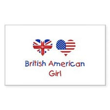 British American Girl Rectangle Decal