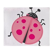 Pink Ladybug Throw Blanket