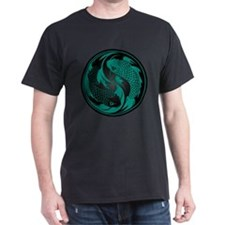 Teal Blue and Black Yin Yang Koi Fish T-Shirt
