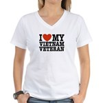I Love My Vietnam Veteran Women's V-Neck T-Shirt