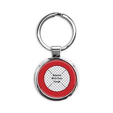 Customizable Red Round Keychain