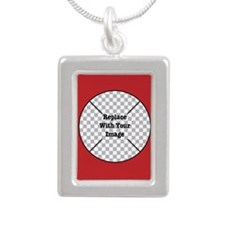 Customizable Red Silver Portrait Necklace