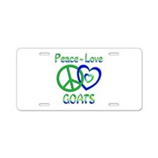 Peace Love Goats Aluminum License Plate