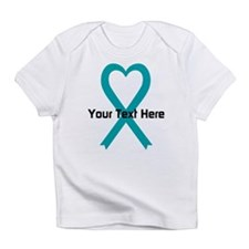 Personalized Teal Ribbon Heart Infant T-Shirt