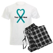 Personalized Teal Ribbon Heart Pajamas