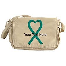 Personalized Teal Ribbon Heart Messenger Bag