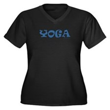 Yoga (Blue) - Women's Plus Size V-Neck Black Tee