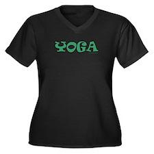 Yoga (Green) - Women's Plus Size V-Neck Dark T-Sh