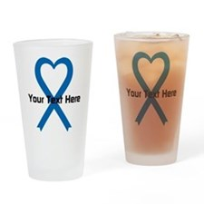 Personalized Blue Ribbon Heart Drinking Glass