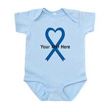 Personalized Blue Ribbon Heart Infant Bodysuit