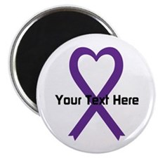 """Personalized Purple Ribbon 2.25"""" Magnet (10 pack)"""