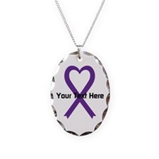Personalized Purple Ribbon Hea Necklace