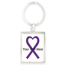 Personalized Purple Ribbon Heart Portrait Keychain