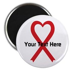 "Personalized Red Ribbon Hea 2.25"" Magnet (10 pack)"