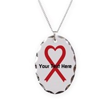 Personalized Red Ribbon Heart Necklace Oval Charm