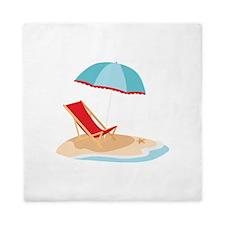 Sun Umbrella And Chair Queen Duvet
