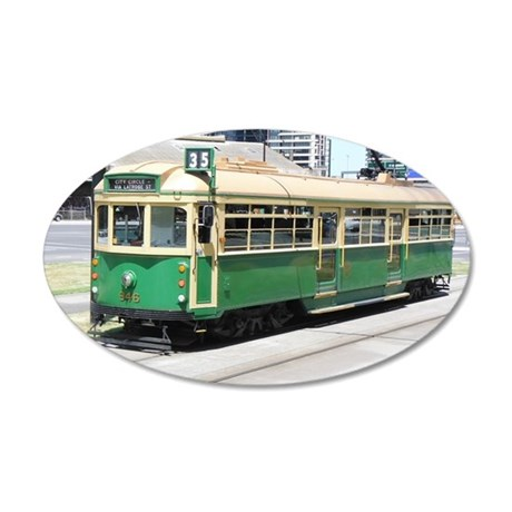 Melbourne Australia Tram 20x12 Oval Wall Decal